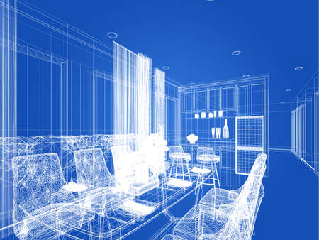 abstract sketch design of interior dining room 版權商用圖片