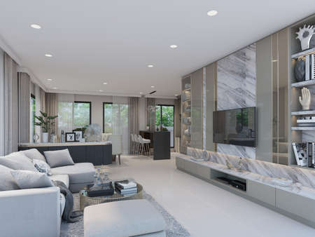 sketch design of interior living, 3d rendering