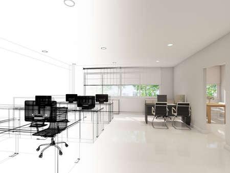 3d rendering of interior office