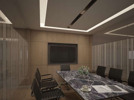3d rendering of interior conference room,