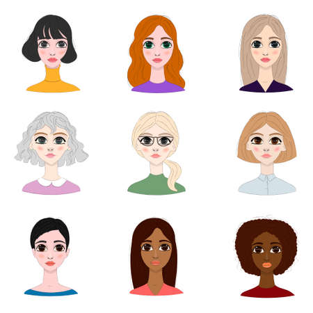 Women avatar set. Different women characters collection.