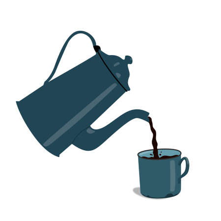 Retro teapot pouring tea. Cup of tea. Cup of coffee.