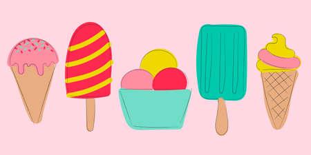 Cartoon ice cream set. Colorful hand drawn illustration. Elements for menu, invitation, poster and recipe