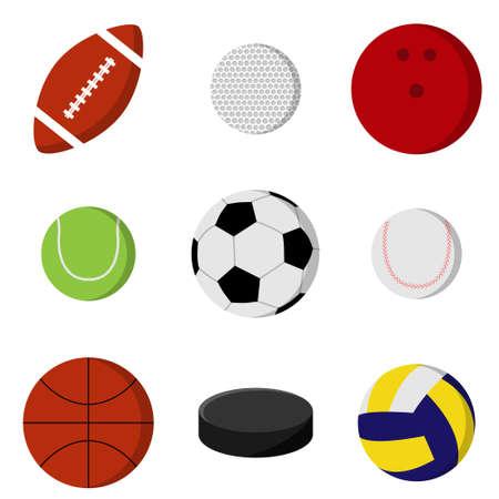 Balls for playing games set. Sport equipment Vektorové ilustrace