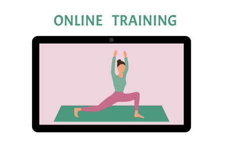 Online fitness and workout. Woman doing excercises. Healthy lifestyle during epidemic and quarantine.