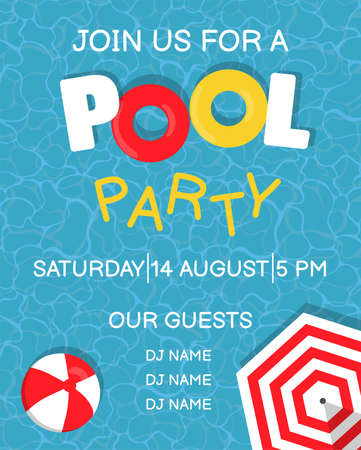 Pool party poster design template with water, beach ball, umbrella and floats. Vector holiday illustration for banner, flyer, invitation and poster. Ilustracje wektorowe