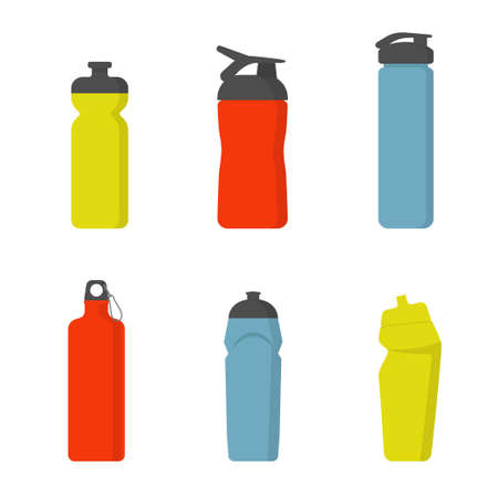 Sport water bottles set . Illustration of container water for sport and fitness.