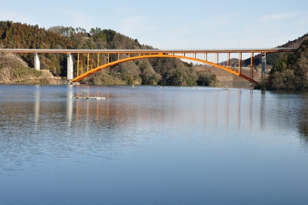 Arch bridge over the Lake Stock Photo