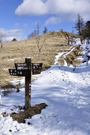 A signpost of the snow and grass dividing Stock Photo