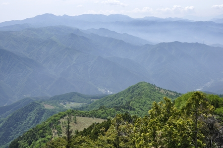 View of Large Bodhisattan Ridge from Dry Tokuyama summit Stock Photo