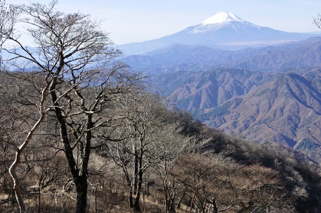 Mt. Fuji in the mountains in late autumn.