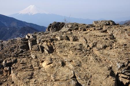 Rock Ridge on Mt. Fuji Stock Photo