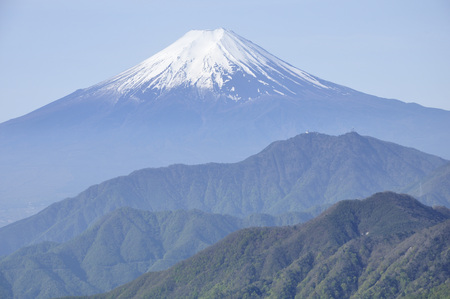 View of Mt. Fuji from wild goose month belly sliding mountain Stock fotó