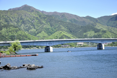 Black volcano with views of Lake Kawaguchi 写真素材