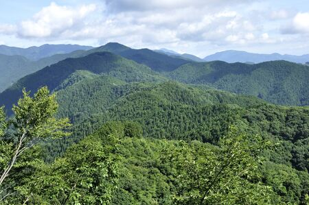 The mountain of Okumusashi from the top of Mt. Iwatake Ishiyama 版權商用圖片