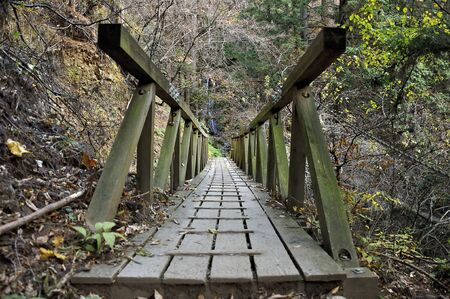 The bridge over Omotesando, Mt. Takeko of Oku Musashi Stock Photo