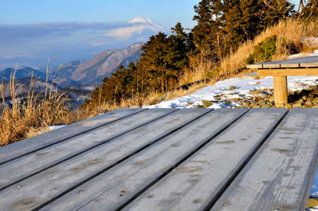 View from the top of Mt. Tochio in Tanzawa, Mt. Fuji in winter