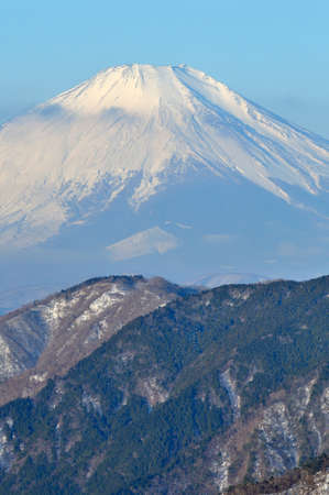 View of Mt. Fuji in winter from Mt. Tochio in Tanzawa