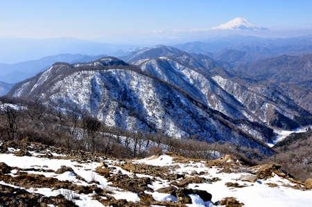Mt. Fuji view from Mt. Tonotake, Tanzawa area in winter