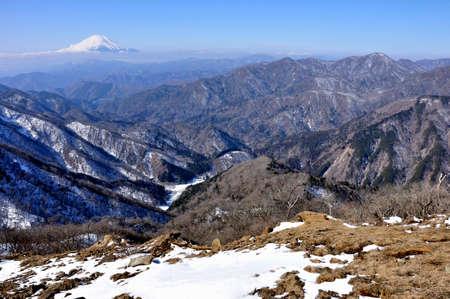 Mt. Fuji and Tanzawa from Mt. Tonotake in winter