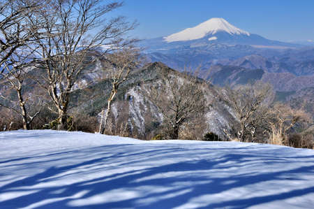 View of Mt. Fuji in the severe winter View from the top of Mt. Nabekayama in Tanzawa