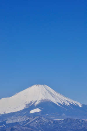 View of Mt. Fuji in the severe winter: A copy space from Mt. Nabewari in Tanzawa