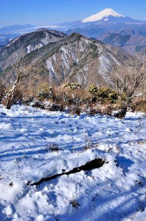 View of Mt. Fuji in the severe winter from Mt. Nabewari in Tanzawa