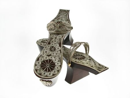 turkish bath: Turkish Bath Clogs, antique clogs the silver handmade top attached to wooden bottom.
