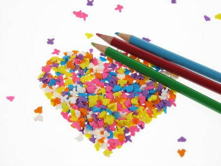 Candy Hearts with crayon photo
