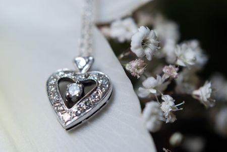 coeur diamant: Fermer � collier de diamants en forme de c?ur sur le p�tale de fleur