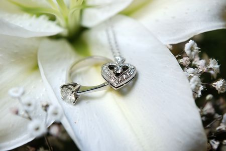 coeur diamant: Diamond collier en forme de c?ur et de l'anneau sur le p�tale de fleur