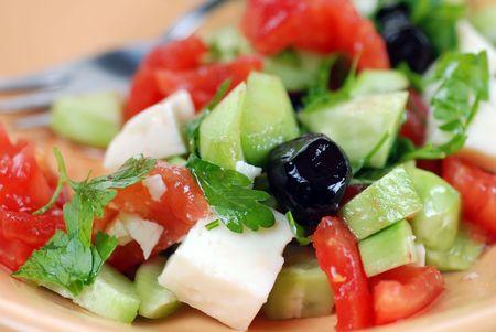 delightful: Healthy delightful Mediterranean Salad with feta cheese