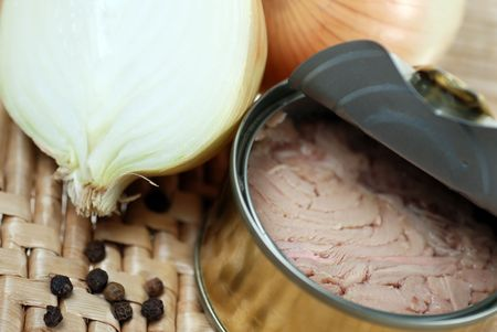 Open can of Tuna fish and fresh cut onion  photo