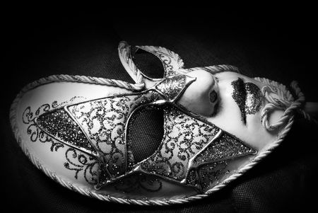 carnival mask: Venetian Carnival Mask, black and white studio shot