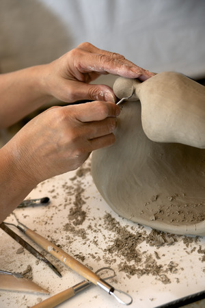 sculptor: Creating Sculpture Stock Photo
