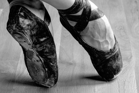 pointe shoe: Well Worn Black Ballet Shoe