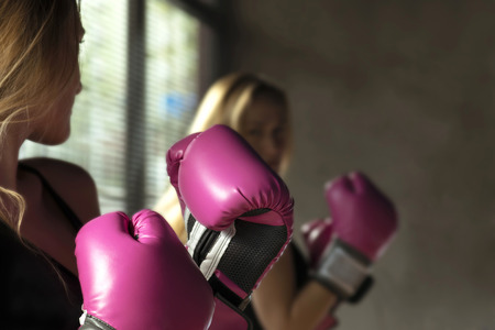 Boxing Woman Training, soft focus low contrast