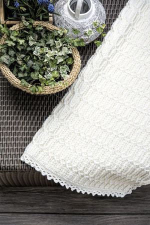 cable knit: Crochet, Cable Knit Baby Blanket in Cream Colour