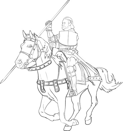 Fighting knight on horseback - Illustration Vector