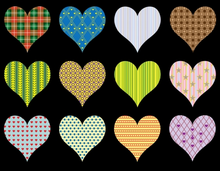 Patterned Hearts - set - Illustration Vector