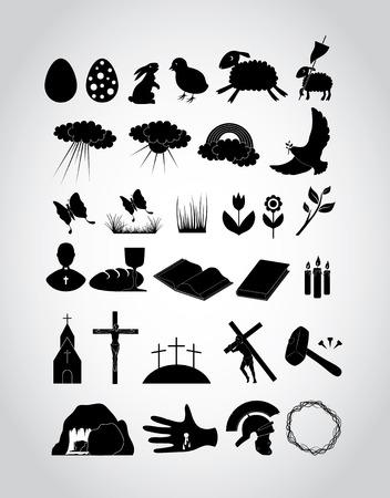 Easter Set - 30 flat icons Vector