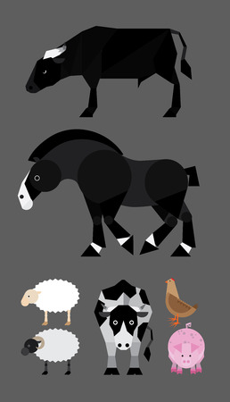 Simple colorful flat illustration of farm animals  Vector