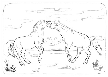 wild horses - coloring book Vector