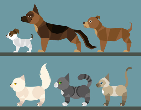 Puppy and kitten set - flat design Vector