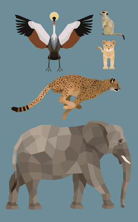 African animals set - Flat design Vector