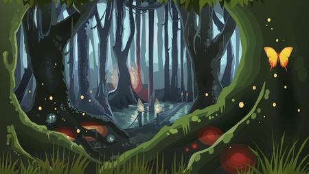 Fantaisie Forêt Magique Nuit Sombre Mystique Fond Illustré