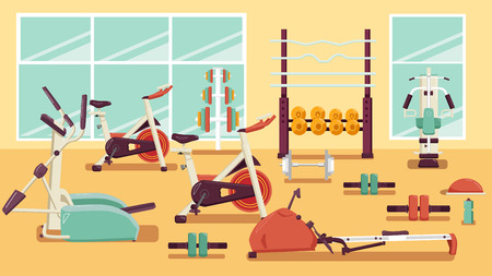 Flat colorful gym. Running. Workout vector illustration 向量圖像