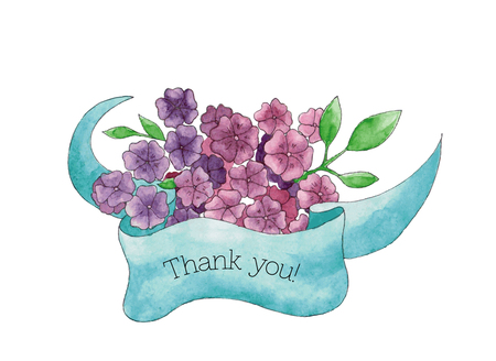 springtime background: Thank you! card with hand drawn bouquet of violet flowers with a blue ribbon, for your personal design for greeting cards, invitations, wedding cards and to thank somebody.
