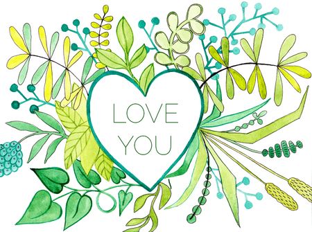 Watercolor heart frame with flowers and green branches with Love you phrase in it. Hand-drawn picture for your personal design in cards, wedding decor, Stock Photo