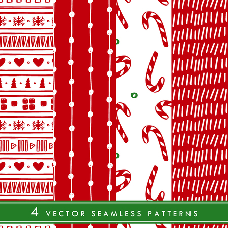 Collection of hand drawn Christmas seamless vector patterns. Winter ornament for wrapping paper and fabric with lollipops and Christmas sweets.